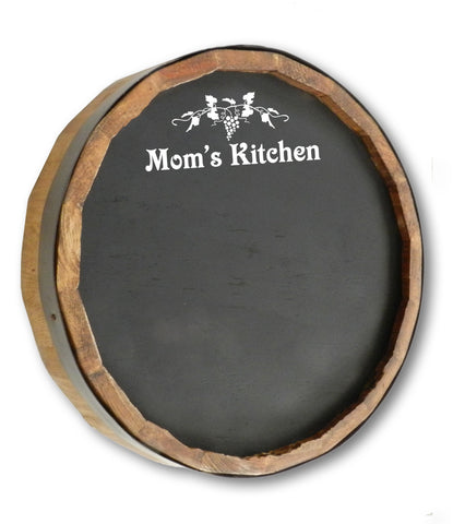 Mom's Kitchen Quarter Barrel Top Chalkboard Sign