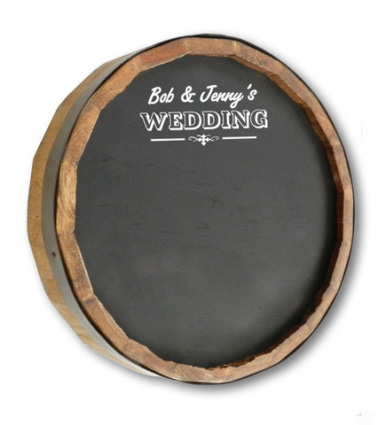 Personalized Wedding Quarter Barrel Top Chalkboard Sign