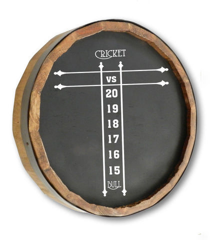Cricket Score Quarter Barrel Top Chalkboard Sign