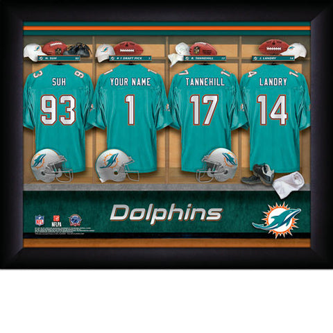 Personalized Miami Dolphins NFL Locker Room Signs