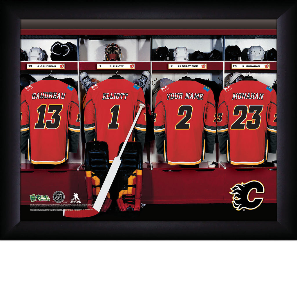 NHL Calgary Flames Locker Room Sign with Personalization - Personalized Gifts for Men - GUYVILLE
