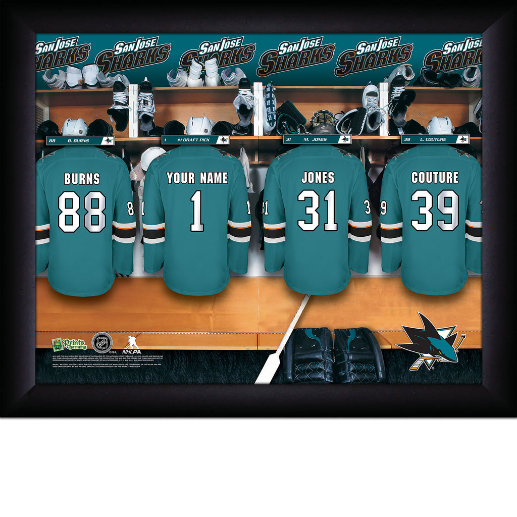 NHL San Jose Sharks Locker Room Sign with Personalization - Personalized Gifts for Men - GUYVILLE