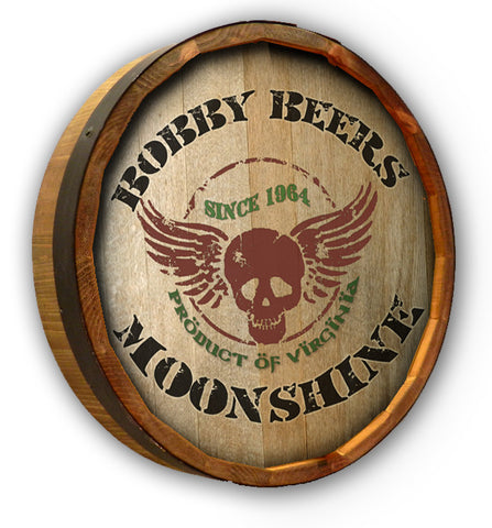 Personalized Moonshine Wings Color Quarter Barrel Top Sign