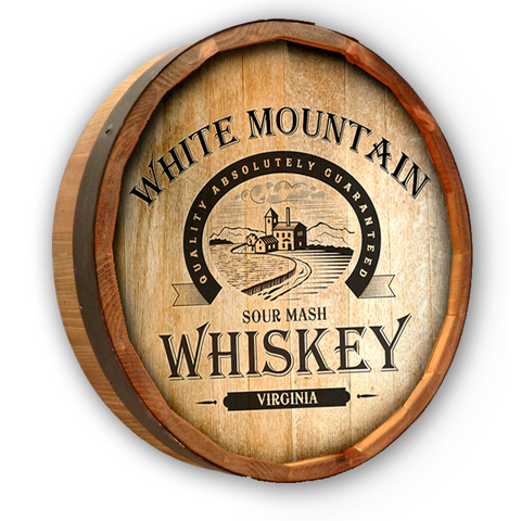 Personalized White Mountain Whiskey Color Quarter Barrel Top Sign