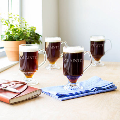 Personalized 10 oz. Irish Glass Coffee Mugs (Set of 4)
