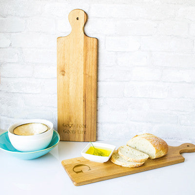 Personalized Acacia Bread Serving Board with Ceramic Dish
