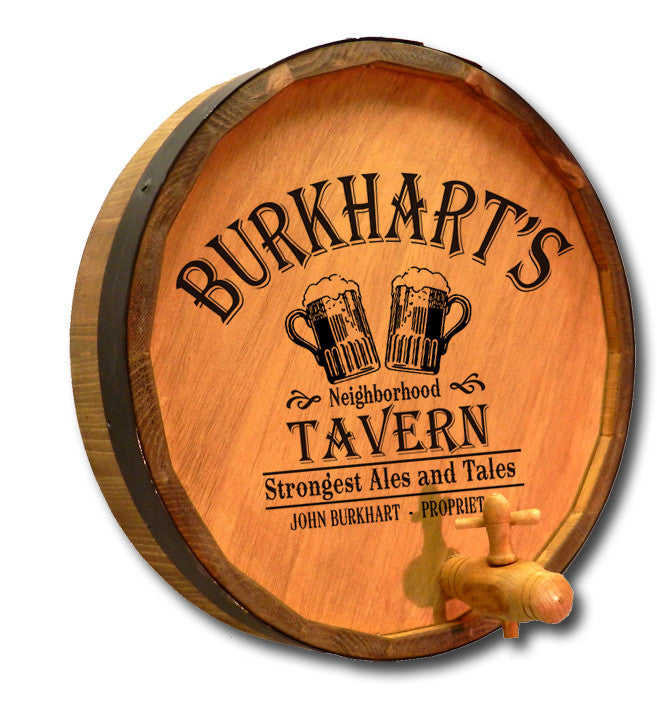 Personalized Beer Tavern Engraved Quarter Barrel Top Sign - Personalized Gifts for Men - GUYVILLE
