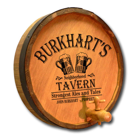 Personalized Beer Tavern Engraved Quarter Barrel Top Sign