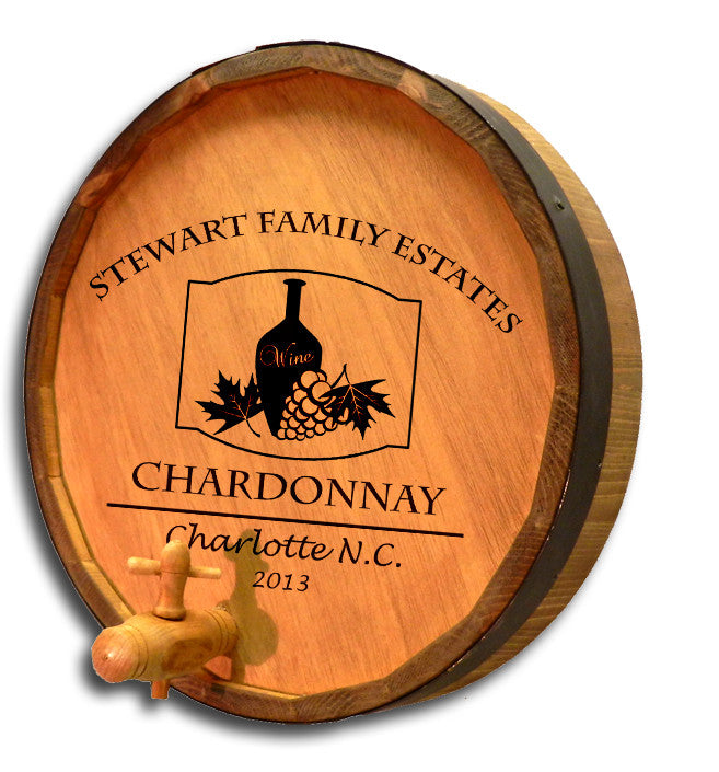 Personalized Chianti Bottle Engraved Quarter Barrel Top Sign - Personalized Gifts for Men - GUYVILLE