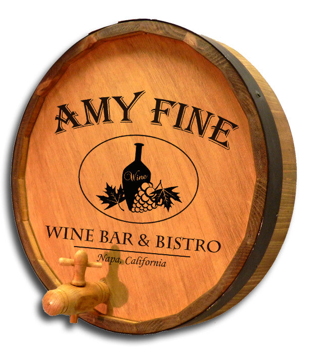 Personalized Wine Bar & Bistro Engraved Quarter Barrel Sign