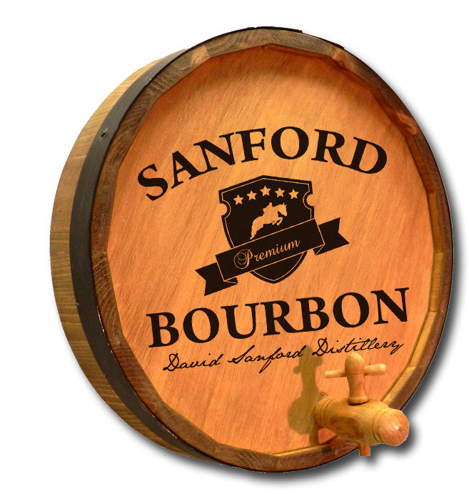 Personalized Sanford Bourbon Engraved Quarter Barrel Top Sign - Personalized Gifts for Men - GUYVILLE