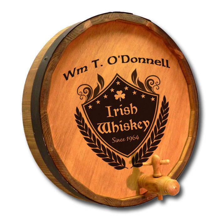 Personalized Irish Crest Engraved Quarter Barrel Top Sign