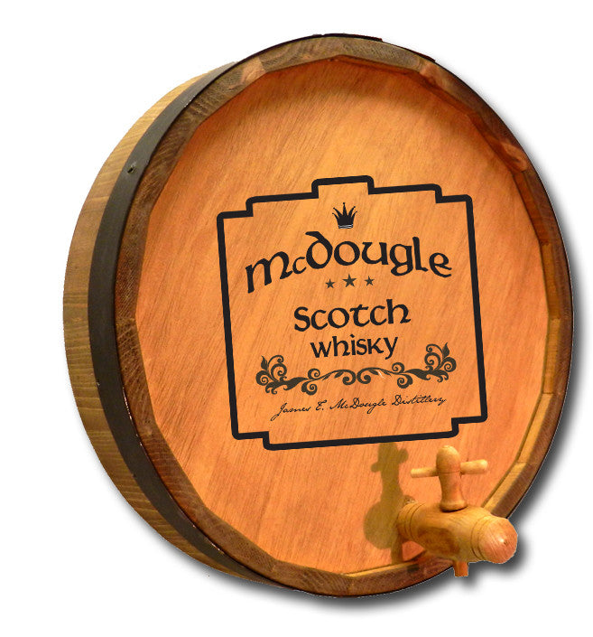Personalized McDougle Scotch Engraved Quarter Barrel Top Sign - Personalized Gifts for Men - GUYVILLE