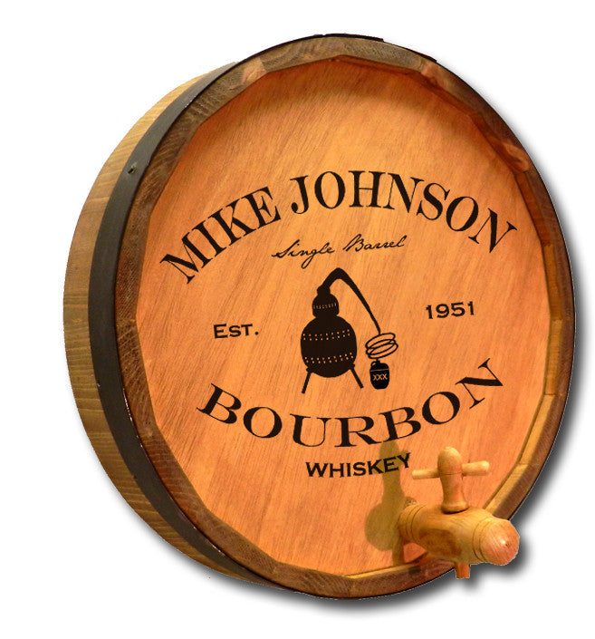 Personalized Whiskey Still Engraved Quarter Barrel Top Sign - Personalized Gifts for Men - GUYVILLE