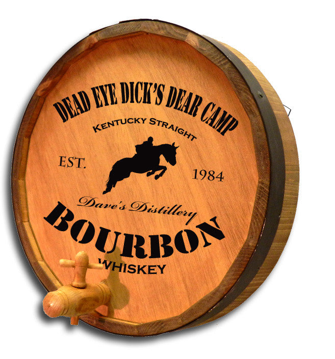 Personalized Jumping Horse Engraved Quarter Barrel Top Sign