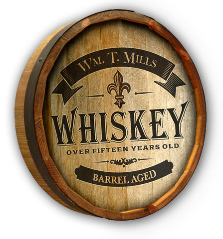 Personalized Whiskey Label 2 Color Quarter Barrel Top Sign