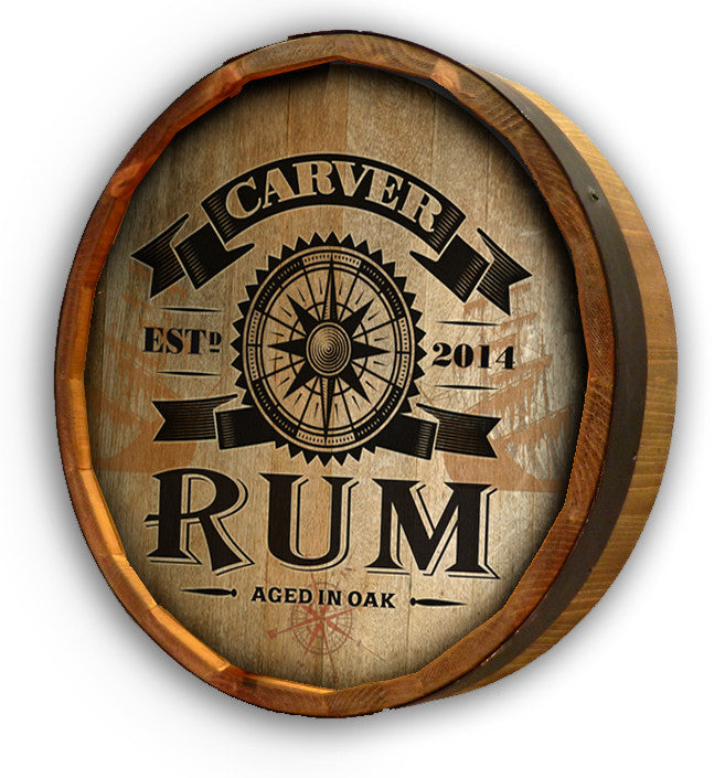 Personalized Rum Compass Color Quarter Barrel Top Sign - Personalized Gifts for Men - GUYVILLE