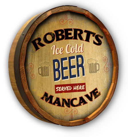 Personalized Ice Cold Beer Color Quarter Barrel Top Sign