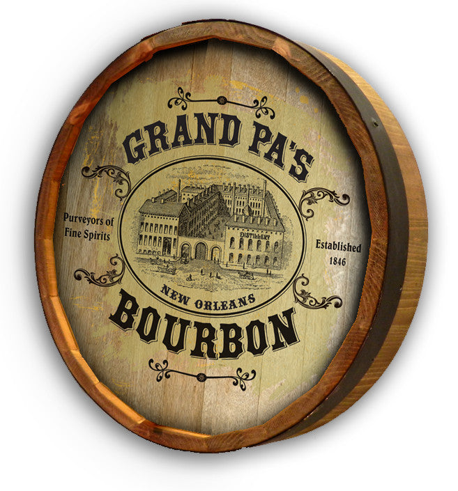 Personalized Victorian Distillery Color Quarter Barrel Top Sign - Personalized Gifts for Men - GUYVILLE