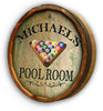 Personalized Pool Room Color Quarter Barrel Top Sign - Personalized Gifts for Men - GUYVILLE