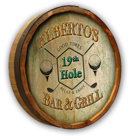 Personalized 19th Hole Bar & Grill Color Quarter Barrel Top Sign
