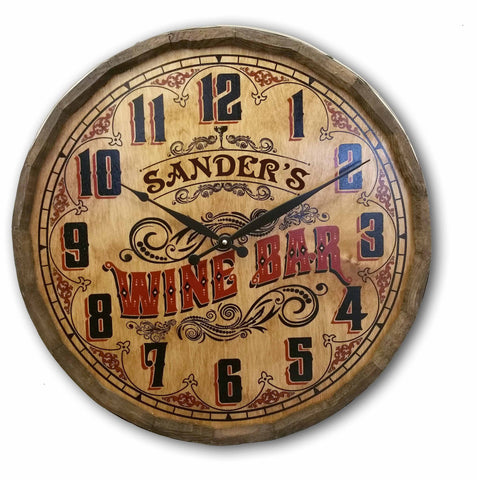 Personalized Quarter Barrel Wine Bar Clock