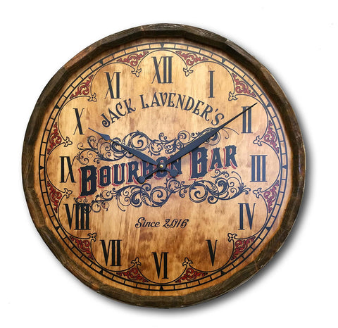 Personalized Quarter Barrel Bourbon Clock