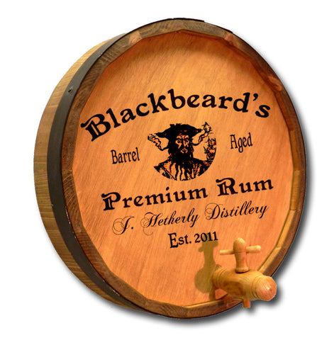 Personalized Blackbeard Engraved Quarter Barrel Top Sign