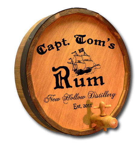 Personalized Capt. Tom's Engraved Quarter Barrel Top Sign