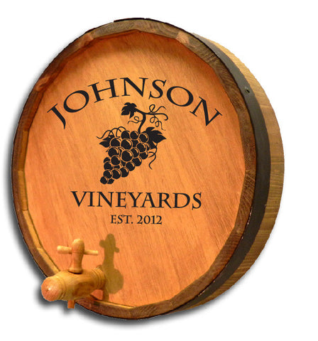 Personalized Vineyard Engraved Quarter Barrel Top Sign