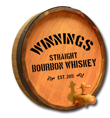 Personalized Distillery 2 Engraved Quarter Barrel Top Sign
