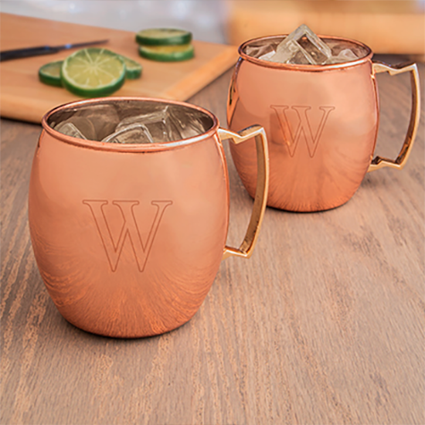 Set of 2 Personalized Moscow Mule Copper Mugs with Unique Handles
