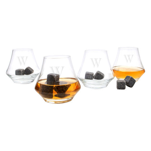 Modern Personalized Whiskey Glass Set with Whiskey Soapstones (set of 4)