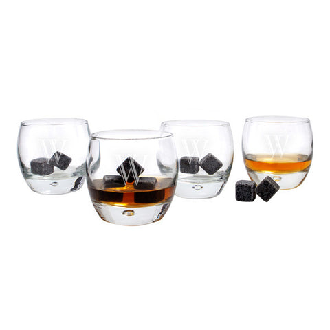 Personalized Heavy Base Whiskey Glasses with Whiskey Soapstones (set of 4)