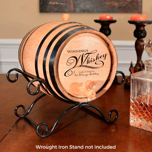 Whiskey Script Personalized Whiskey Barrel