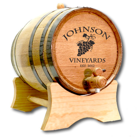 Wine Grapes Design Personalized Oak Barrel