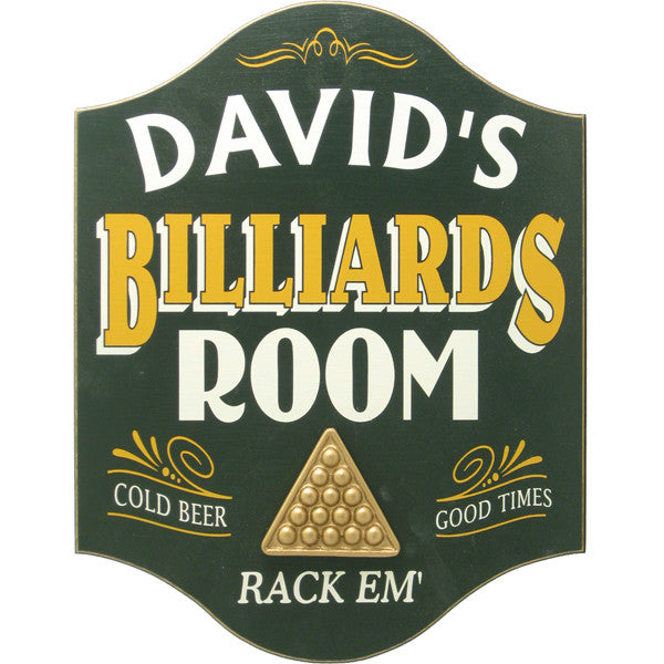 Billiards Room Sign - Personalized - Personalized Gifts for Men - GUYVILLE