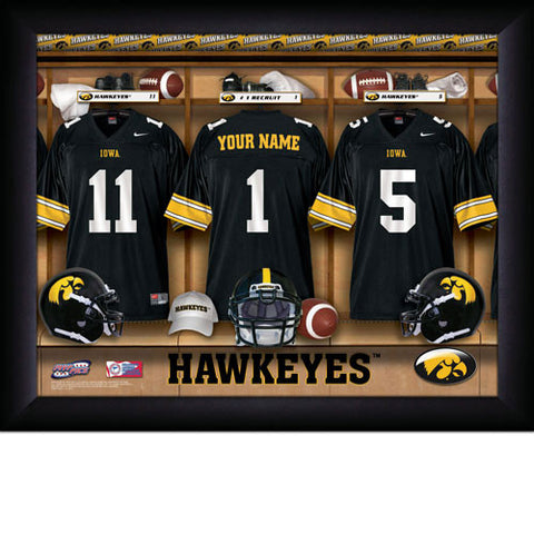 College Football Locker Room Sign with Personalization - Iowa Hawkeyes
