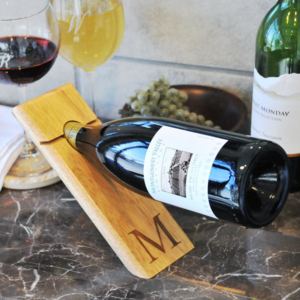 Counter Balance Wine Bottle Stand with Personalization - Personalized Gifts for Men - GUYVILLE