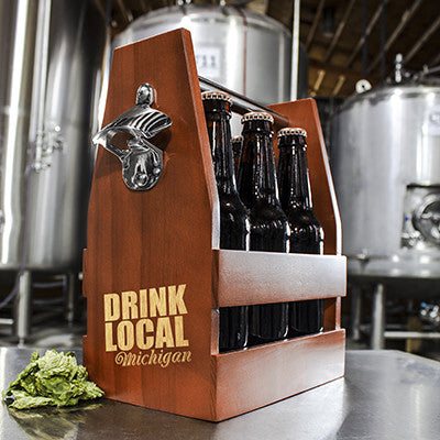 Personalized Drink Local Wooden Craft Beer Carrier