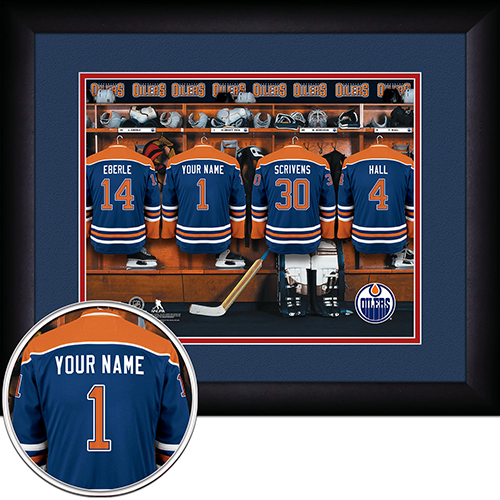NHL Edmonton Oilers Locker Room Sign with Personalization - Personalized Gifts for Men - GUYVILLE