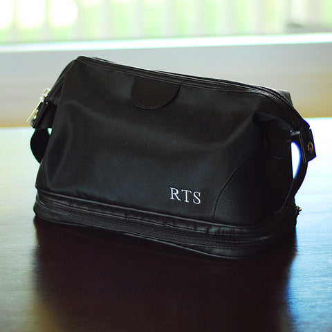 Embroidered Men's Microfiber Toiletry Bag