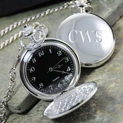 Engraved Silver-Plated Pocket Watch with Black Face