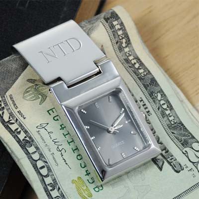 Engraved Watch Money Clip with Graphite Face