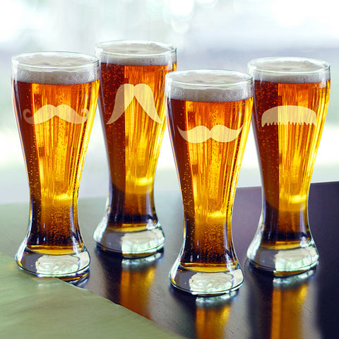 Etched Gentleman's Mustache Pilsners (Set of 4)