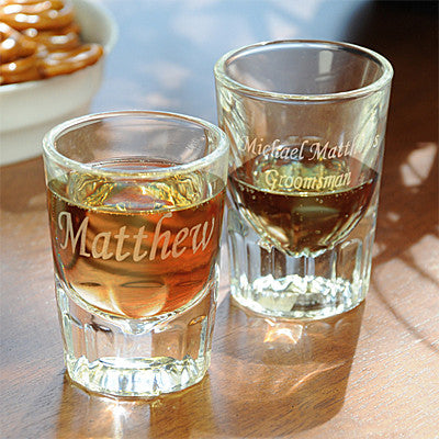 Fluted Shot Glass with Personalization (Set of 2)