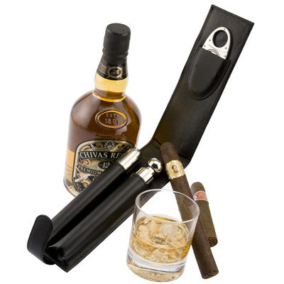 Leather Cigar & Flask Set - Personalized