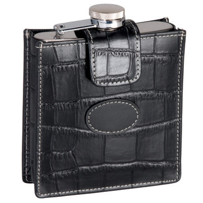 Leather Croco Flask - Personalized
