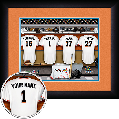 Personalized Miami Marlins MLB Locker Room Sign