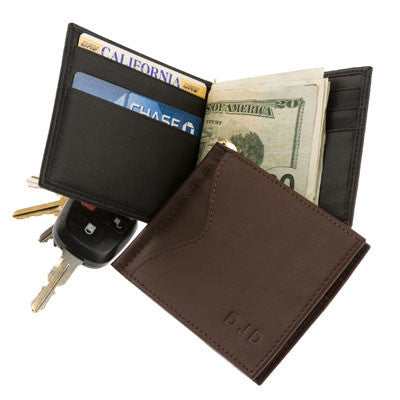 Personalized  Cash Clip Wallet with Outside Pocket in Nappa  Leather